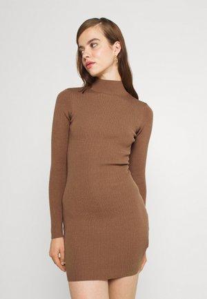 HIGH NECK MINI DRESS - Jumper dress - camel