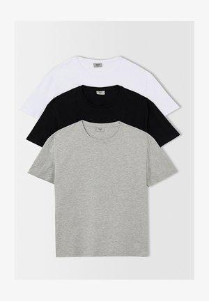 3 PACK - Camiseta básica - grey/white/black