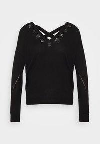 ONLADELE AJOUR VNECK - Pullover - black