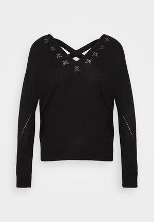 ONLADELE AJOUR VNECK - Stickad tröja - black