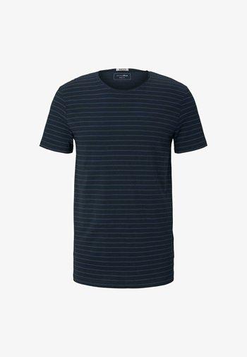 Print T-shirt - navy blue tonal stripe