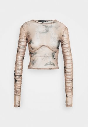 KXMG ALL OVER PRINT TOP - Topper langermet - tobacco