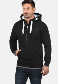 Solid - BenjaminZip Pile - Zip-up hoodie - black pil - 0