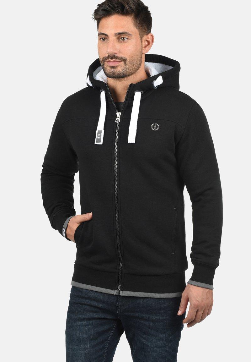 Solid - BenjaminZip Pile - Zip-up hoodie - black pil