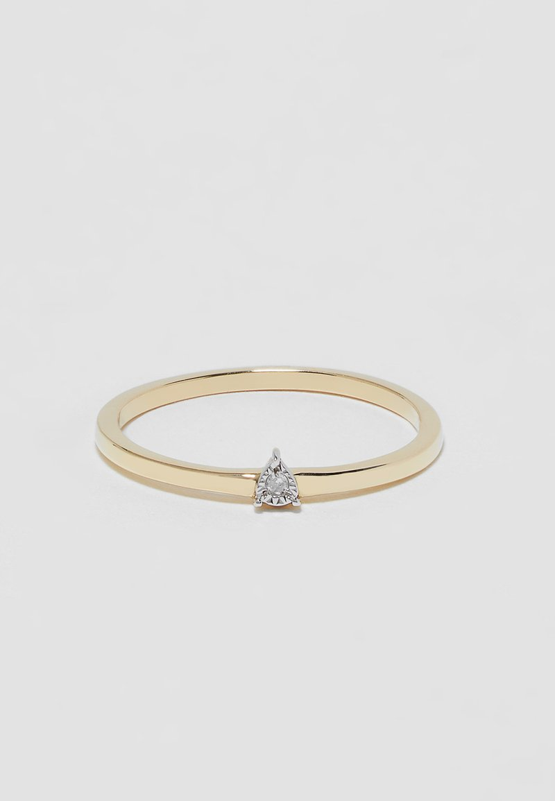 DIAMANT L'ÉTERNEL - 9KT YELLOW GOLD CERTIFIED DIAMOND ILLUSION PLATE RING - Ring - gold-coloured
