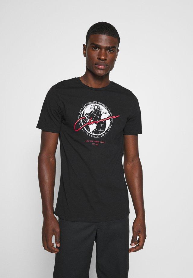 WORLDWIDE TEE - T-shirt imprimé - black