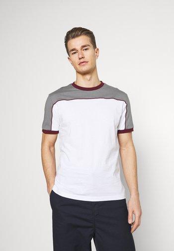 T-shirt print - grey/white/bordeaux