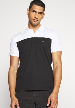 COLOR BLOCK INTERLOCK - Poloshirts - black