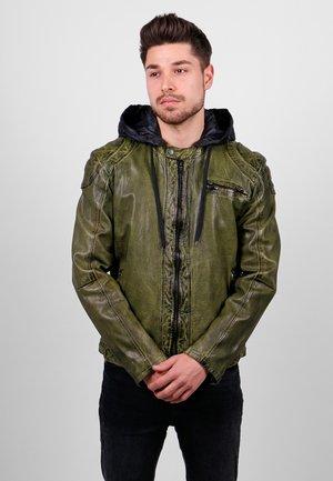 HENRIK-FN - Leather jacket - khaki
