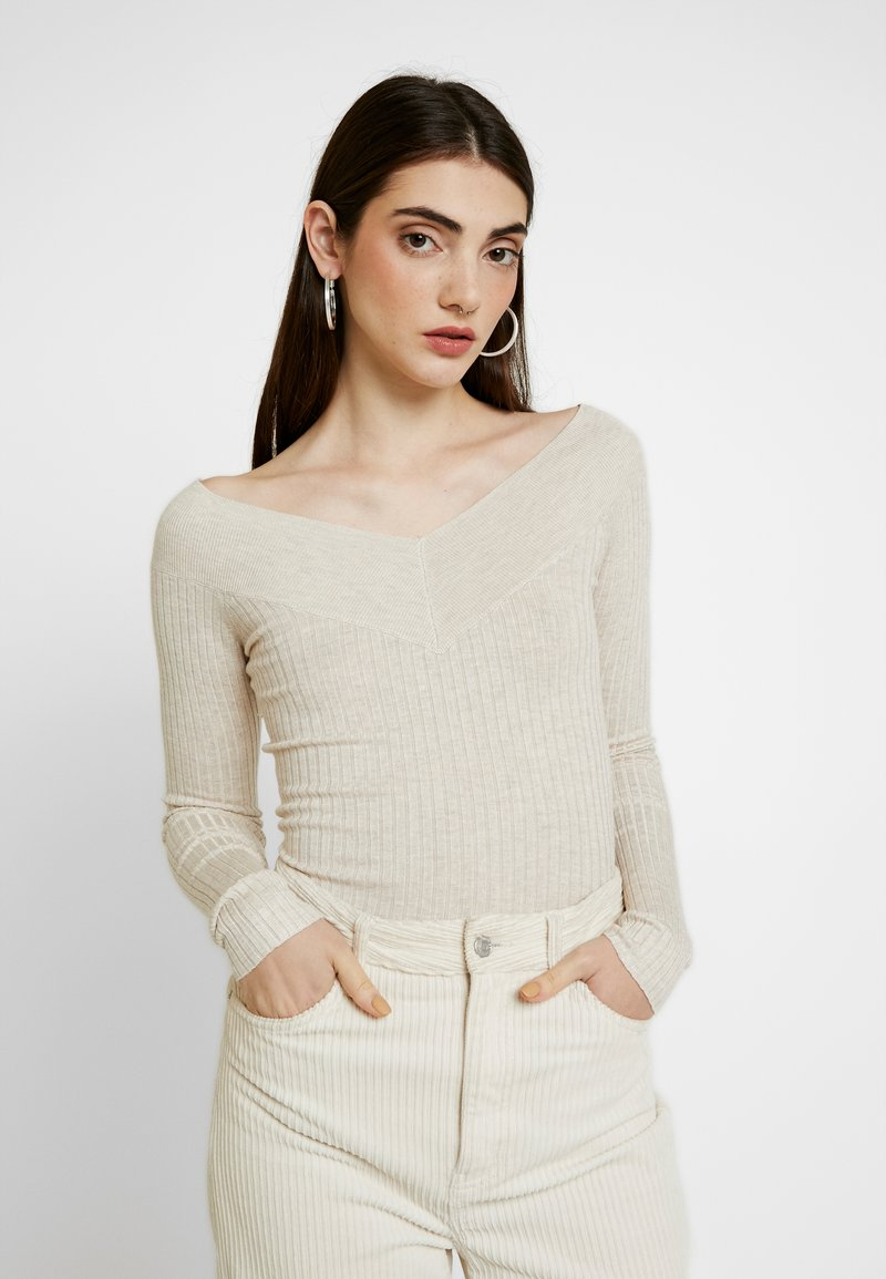 Even&Odd - BARDOT NECKLINE - Stickad tröja - beige melange