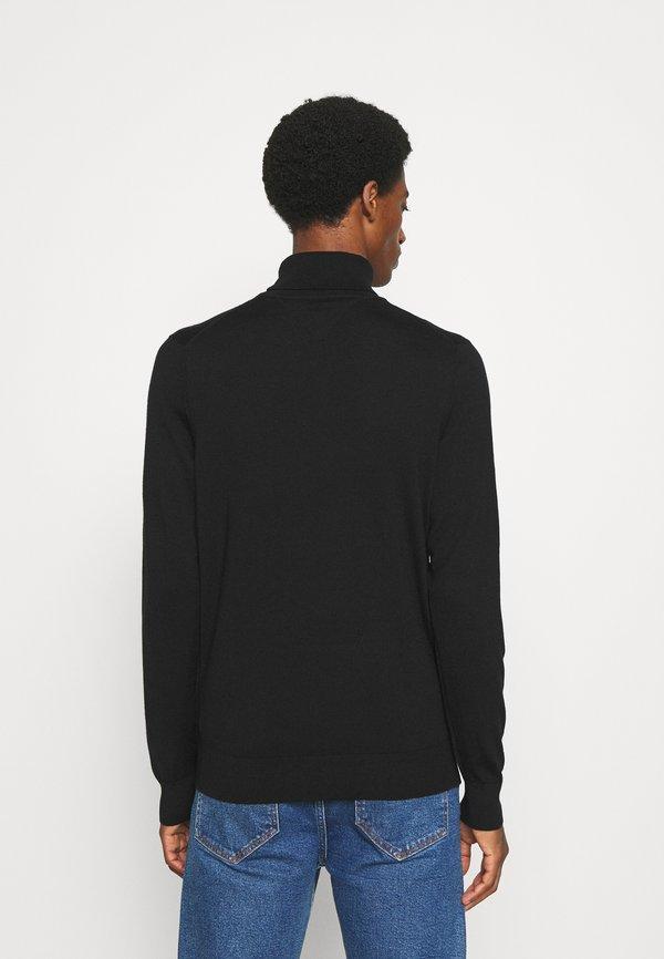 Tommy Hilfiger Tailored FINE GAUGE LUXURY ROLL - Sweter - black/czarny Odzież Męska LVOX