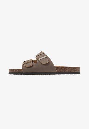 REX DOUBLE BUCKLE SLIDE - Domácí obuv - brown