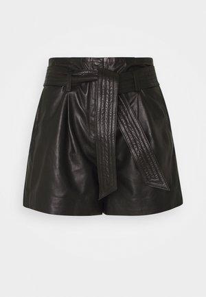 FARLEY - Pantalón de cuero - black