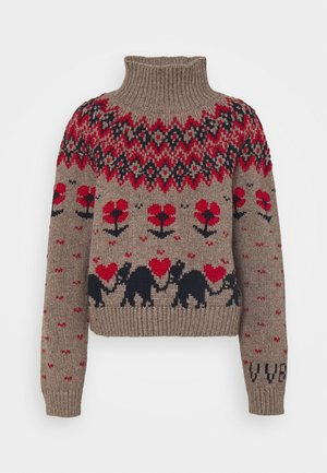 FAIRISLE ELEPHANTS HEARTS AND FLOWERS JUMPER - Sweter - oatmeal