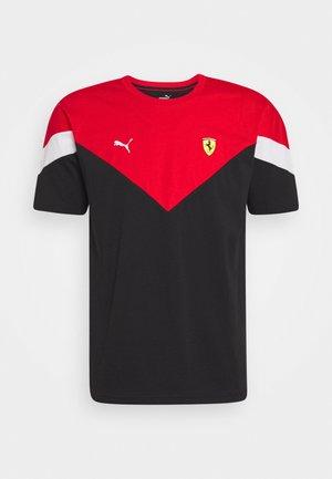 FERRARI RACE TEE - Print T-shirt - black/rosso corsa