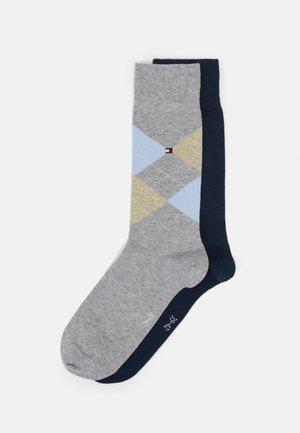 MEN SOCK CHECK 2 PACK - Socks - light grey melange/dark blue