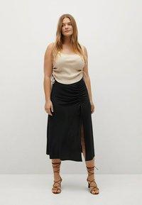 Violeta by Mango - MET GESMOKT DETAIL - A-line skirt - zwart - 1