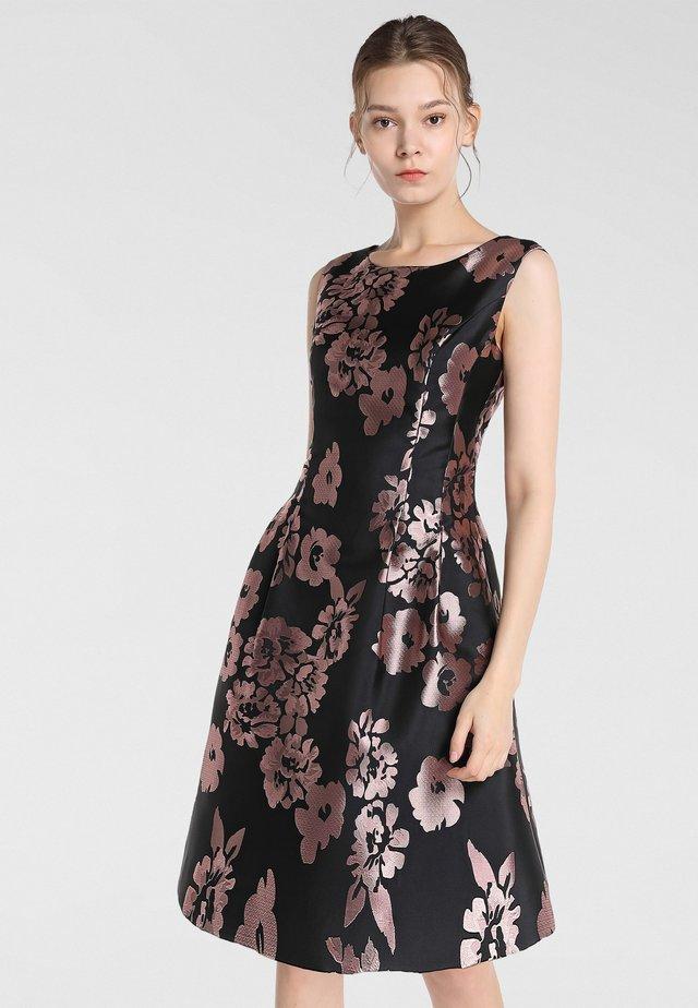 JAQUARD - Day dress - schwarz-mauve
