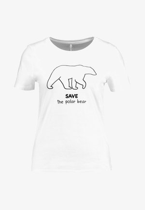 ONLFBESS FLOCK ANIMAL - Print T-shirt - bright white/polar bear