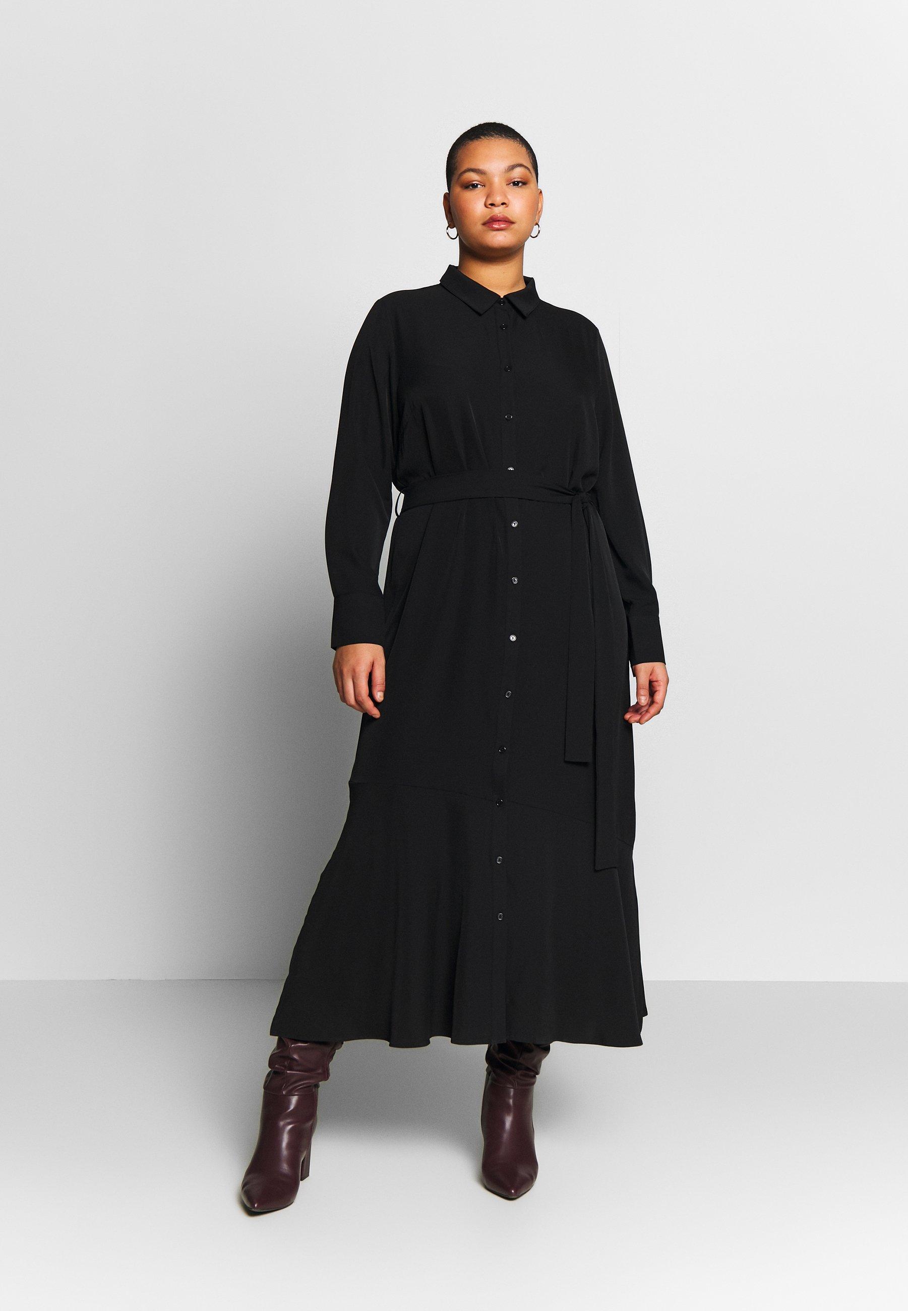 Glamorous Curve SIDE SPLIT SHIRT DRESS - Maxi dress - black ...