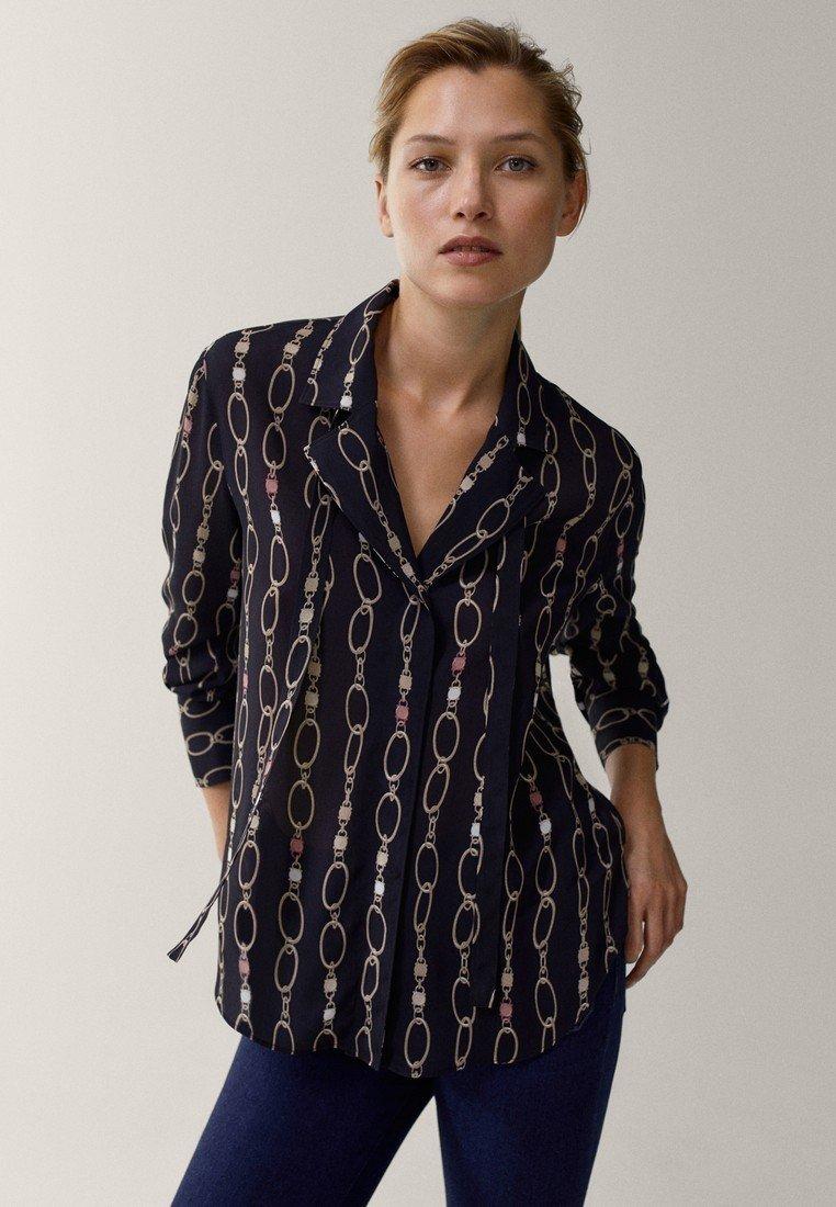 Massimo Dutti - MIT KETTENPRINT - Button-down blouse - black