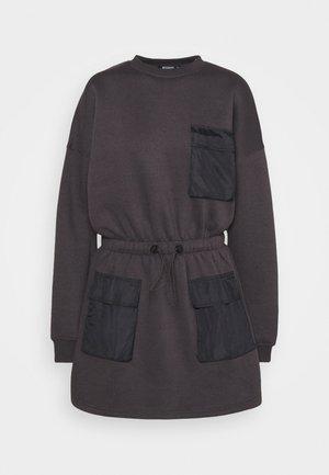 POCKET DETAIL DRAWSTRING SWEATER DRESS - Day dress - black