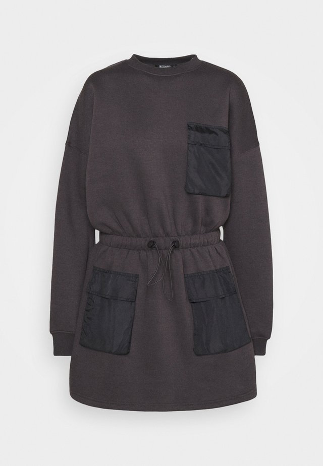 POCKET DETAIL DRAWSTRING SWEATER DRESS - Korte jurk - black