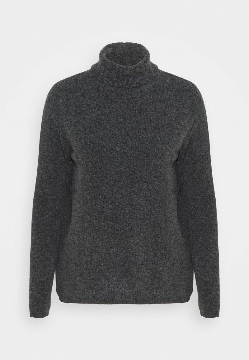 Selected Femme - SLFSTACEY ROLLNECK - Jumper - dark grey melange