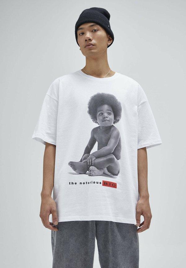 PULL&BEAR T-shirt z nadrukiem - white/biały Odzież Męska KPNQ