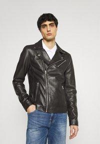 Goosecraft - VICK BIKER - Leather jacket - black - 0