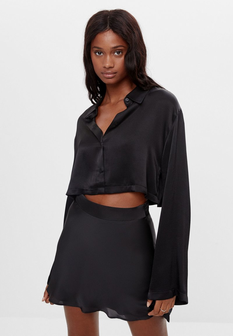Bershka - Button-down blouse - black
