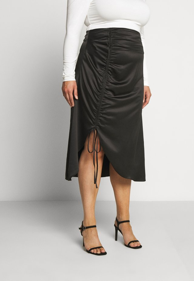 RUCHED SIDE SKIRT - Jupe trapèze - black