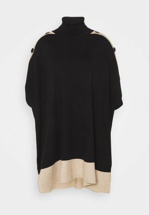 TIPPED BUTTON PONCHO - Cape - black
