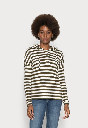 LONG SLEEVE HOODY BUTTON PLACKET - Long sleeved top - multi/burnished logs
