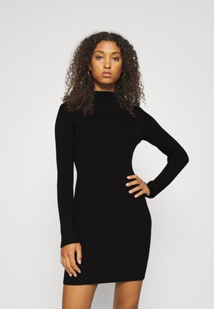 HIGH NECK MINI DRESS - Abito in maglia - black