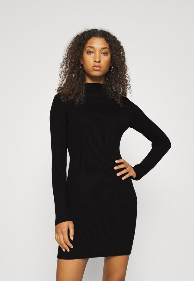 HIGH NECK MINI DRESS - Robe pull - black