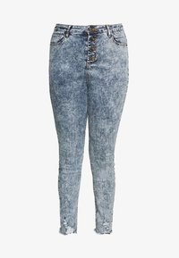 Simply Be - HIGH WAIST BUTTON FLY - Jeans Skinny Fit - blue acid - 3