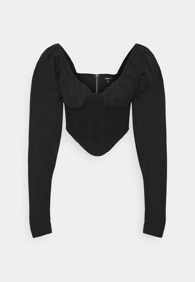 SLEEVE CORSET TOP - Long sleeved top - black