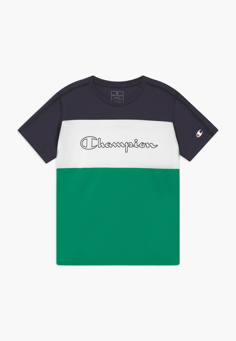 Champion - CHAMPION X ZALANDO PERFORMANCE - Camiseta estampada - green/dark blue/white