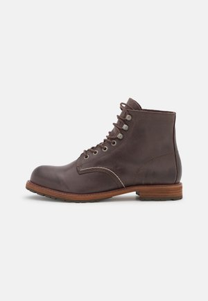 SLHROMAN BOOT - Lace-up ankle boots - chocolate brown