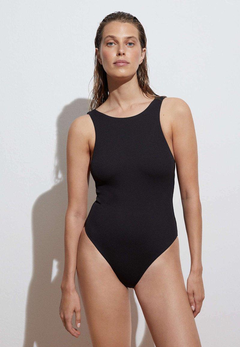 OYSHO - HALTERNECK - Swimsuit - black