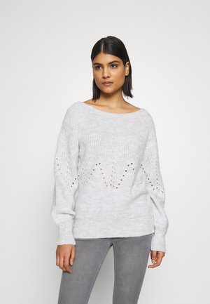 POINTELLE YOKE JUMPER - Stickad tröja - grey marl