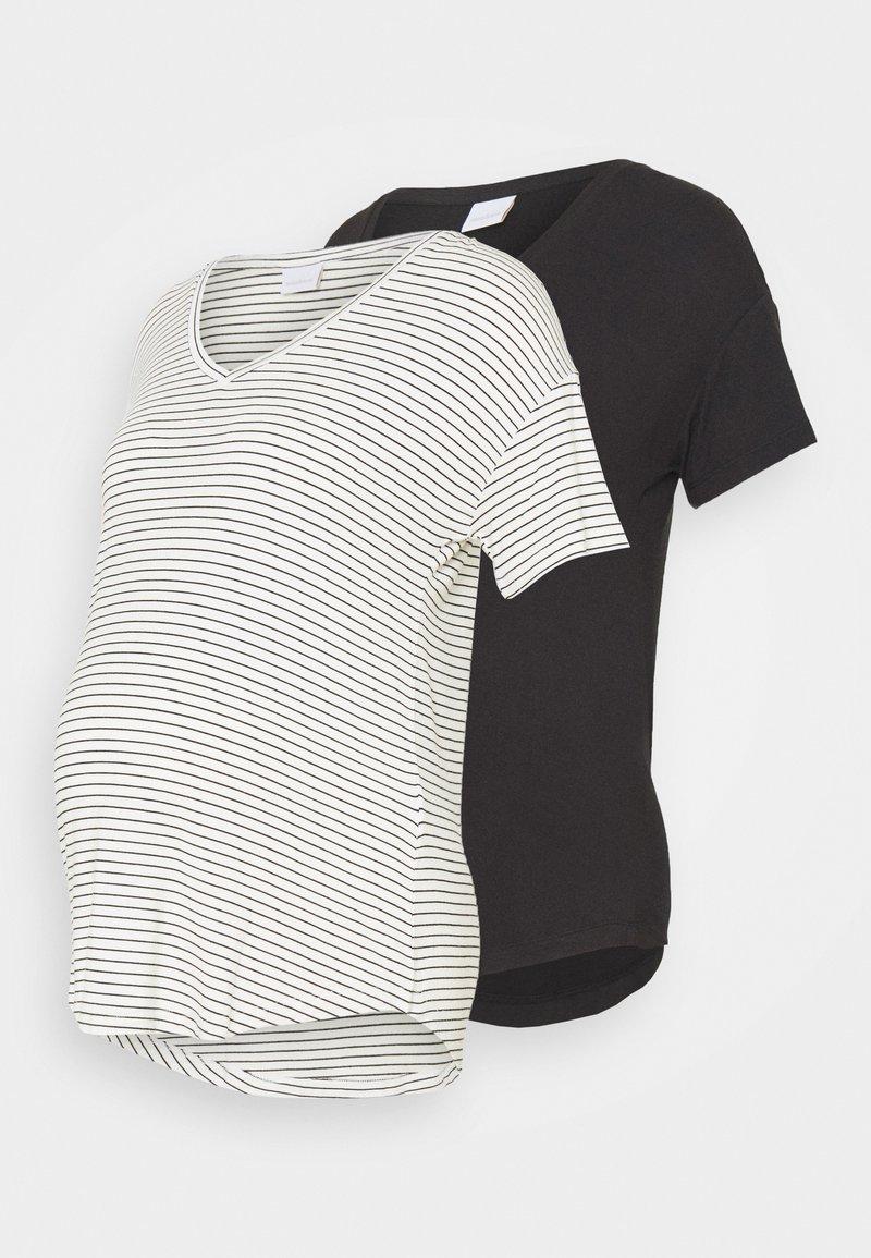 MAMALICIOUS - MLALISON MIX 2 PACK - T-shirt z nadrukiem - black/snow white