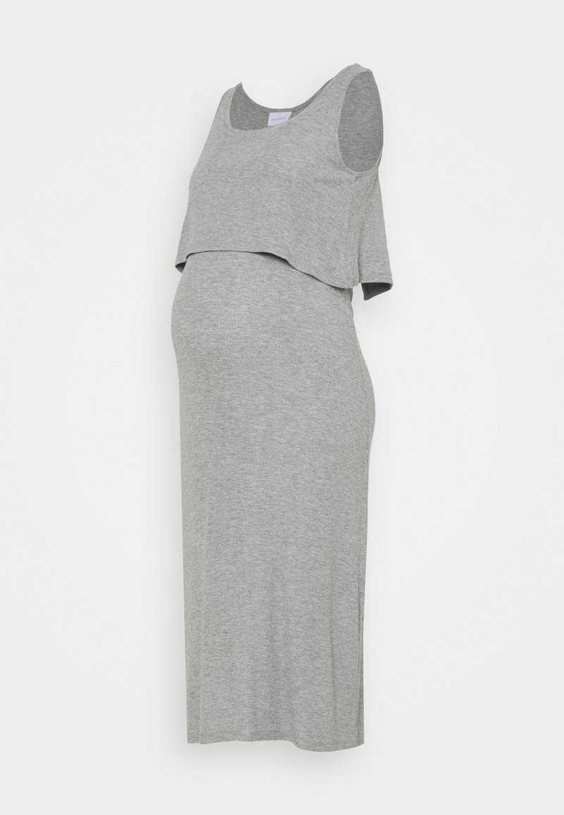MAMALICIOUS - NURSING DRESS - Maxi dress - light grey melange