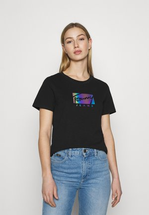 REGULAR METALLIC BOX TEE - Print T-shirt - black
