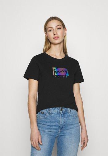 REGULAR METALLIC BOX TEE - T-shirt con stampa - black