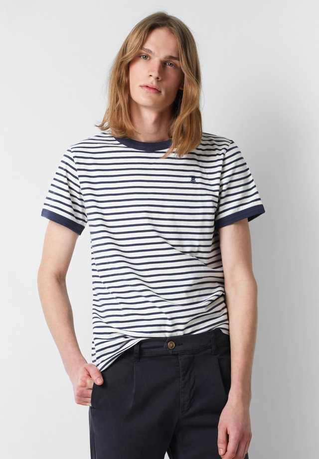 CONTRAST STRIPED  - Print T-shirt - off white