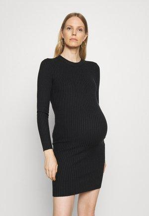 PCMCRISTA O NECK DRESS - Gebreide jurk - black