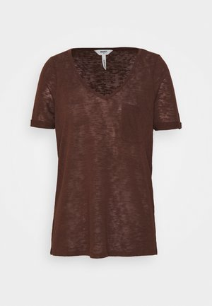 OBJTESSI V NECK  - Print T-shirt - chicory coffee