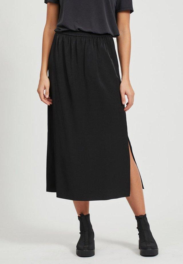 MAXIROCK EINFARBIGER GESCHLITZTER - A-line skirt - black